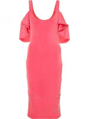Платье с открытыми плечами Nicole Miller. Цвет: розовый и фиолетовый