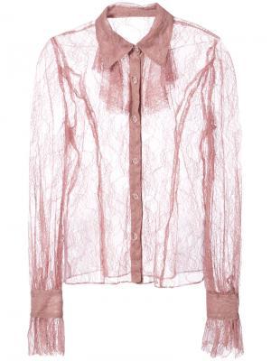 Кружевная полупрозрачная рубашка Anna Sui. Цвет: розовый и фиолетовый