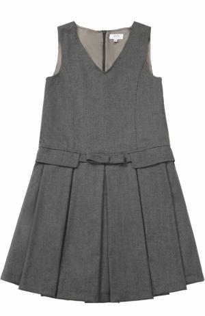 Мини-платье из смеси шерсти и полиэстера с защипами бантом Aletta. Цвет: темно-серый