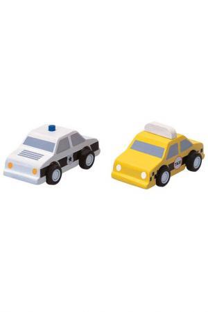 Набор машинок Такси и полиция Plan Toys. Цвет: белый