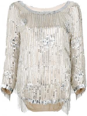 Блузка с пайетками Mes Demoiselles. Цвет: телесный