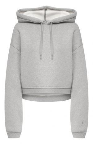 Хлопковый пуловер с капюшоном T by Alexander Wang. Цвет: серый