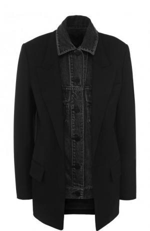Приталенный жакет с джинсовой вставкой Alexander Wang. Цвет: черный
