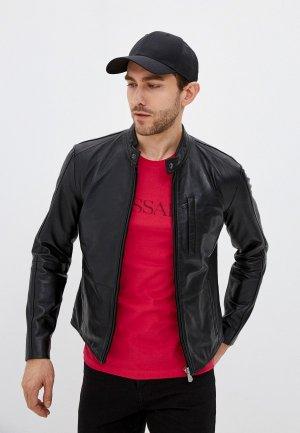 Куртка кожаная Trussardi. Цвет: черный