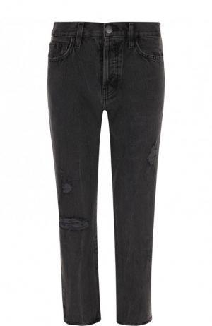 Укороченные джинсы с потертостями Current/Elliott. Цвет: серый