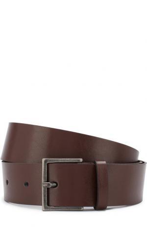 Кожаный ремень с металлической пряжкой Erika Cavallini. Цвет: коричневый
