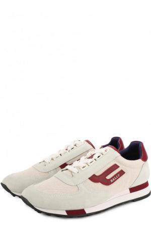 Комбинированные кроссовки Gavinia на шнуровке Bally. Цвет: кремовый