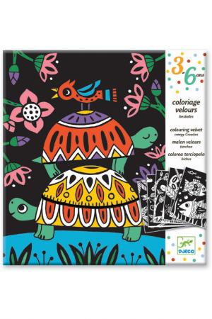 Бархатные раскраски Черепахи Djeco. Цвет: черный