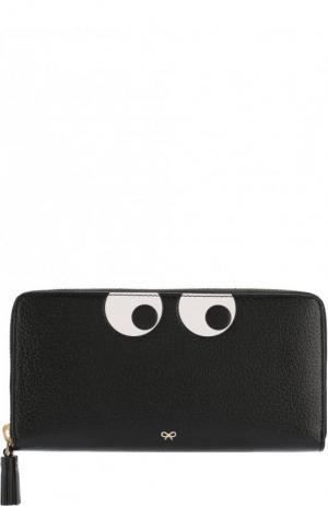 Кожаный кошелек на молнии с аппликацией Eyes Anya Hindmarch. Цвет: черный