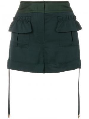 Шорты с карманами карго Carven. Цвет: зелёный
