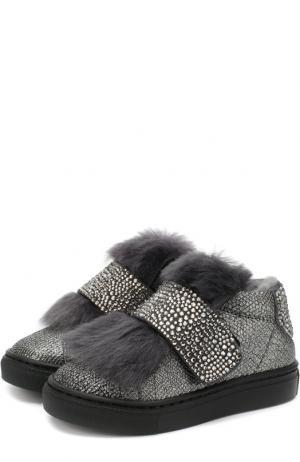 Кожаные ботинки с меховой отделкой и застежкой велькро Missouri. Цвет: серый