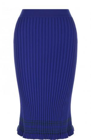 Однотонная юбка-миди фактурной вязки Altuzarra. Цвет: синий
