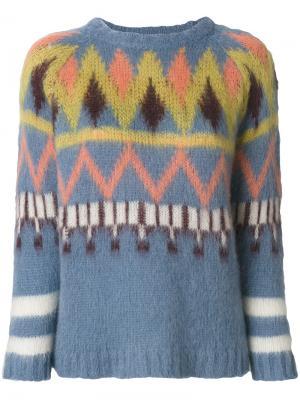 Пуловер с круглым вырезом 8pm. Цвет: синий