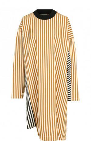 Хлопковое платье свободного кроя в полоску Dries Van Noten. Цвет: бежевый