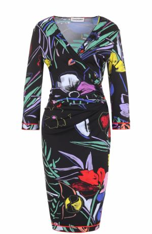 Платье-миди с цветочным принтом и драпировкой Leonard Paris. Цвет: черный