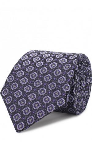 Шелковый галстук с узором Canali. Цвет: фиолетовый
