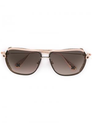 Солнцезащитные очки с тисненым узором Chrome Hearts. Цвет: металлический