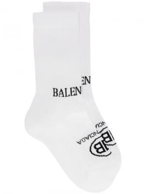 Теннисные носки BB Balenciaga. Цвет: белый