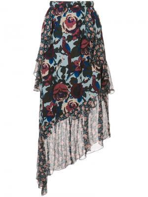 Асимметричная юбка с цветочным принтом Anna Sui. Цвет: синий
