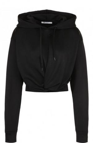 Укороченный однотонный пуловер с капюшоном T by Alexander Wang. Цвет: черный