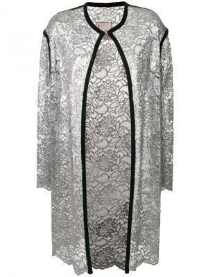 Кружевное пальто-кардиган Antonio Marras. Цвет: металлический