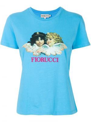 Футболка с ангелом Fiorucci. Цвет: синий