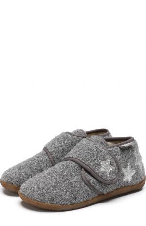 Текстильные домашние ботинки с застежкой велькро Naturino. Цвет: серый