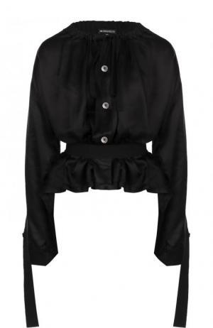 Блуза из смеси вискозы и шелка с поясом Ann Demeulemeester. Цвет: черный