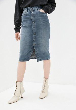 Юбка джинсовая G-Star. Цвет: синий