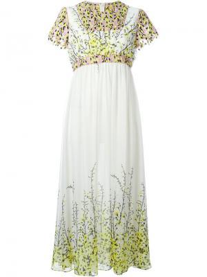 Платье с цветочным принтом Giambattista Valli. Цвет: белый