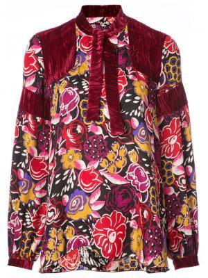 Рубашка с бархатными вставками Anna Sui. Цвет: красный