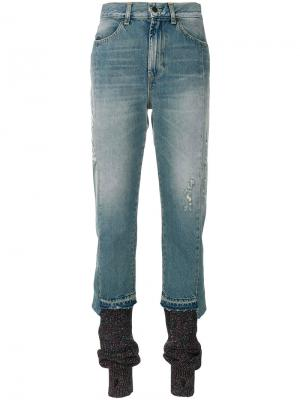 Облегающие джинсы с трикотажными гетрами Circus Hotel. Цвет: синий