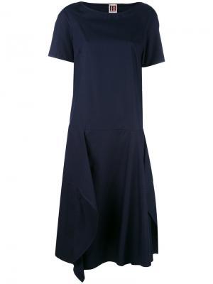 Платье шифт с драпировкой IM Isola Marras I'M. Цвет: синий