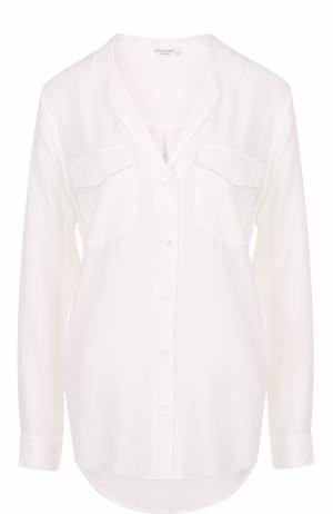 Шелковая блуза с накладными карманами и V-образным вырезом Equipment. Цвет: белый