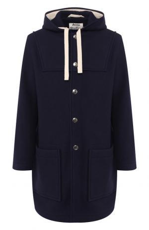 Шерстяное пальто Acne Studios. Цвет: темно-синий