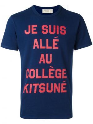 Футболка College Maison Kitsuné. Цвет: синий