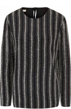 Шелковый топ с длинным рукавом и вышивкой бисером Dries Van Noten. Цвет: черный
