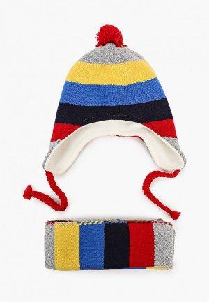 Шапка и шарф Chicco. Цвет: разноцветный