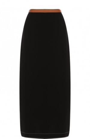 Однотонная юбка-миди с кожаной отделкой Loewe. Цвет: черный