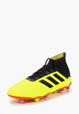 Бутсы adidas. Цвет: желтый