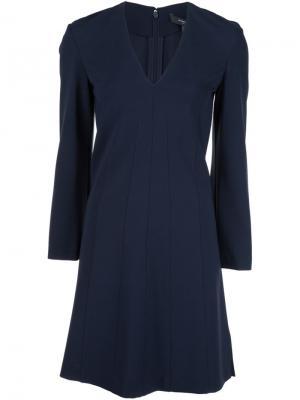 Классическое платье с V-образным вырезом Derek Lam. Цвет: синий