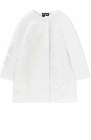 Пальто с круглым вырезом и аппликациями Monnalisa. Цвет: серый