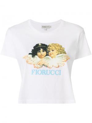 Укороченная футболка с принтом логотипа Fiorucci. Цвет: белый