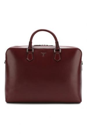Кожаная сумка для ноутбука Riserva с плечевым ремнем Serapian. Цвет: бордовый