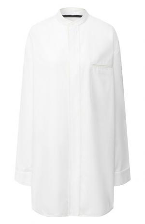 Удлиненная рубашка с воротником мандарин Haider Ackermann. Цвет: белый