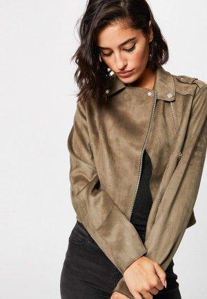Куртка кожаная Morgan. Цвет: бежевый