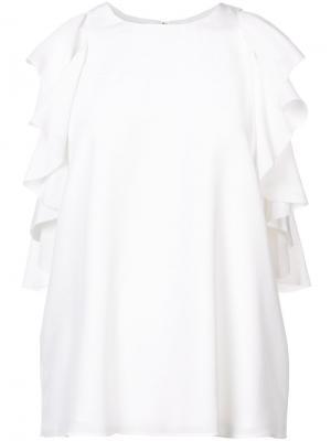 Блузка с оборками на рукавах Alexis. Цвет: белый
