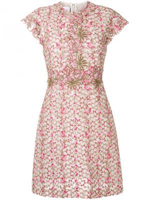 Платье с цветочной вышивкой Giambattista Valli. Цвет: розовый и фиолетовый
