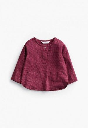Рубашка Mango Kids. Цвет: бордовый
