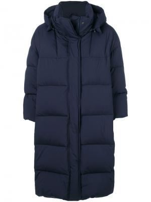 Длинное дутое пальто Aspesi. Цвет: синий